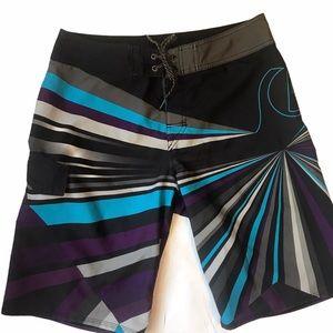 """Quicksilver Black Purple 22"""" Board Shorts"""